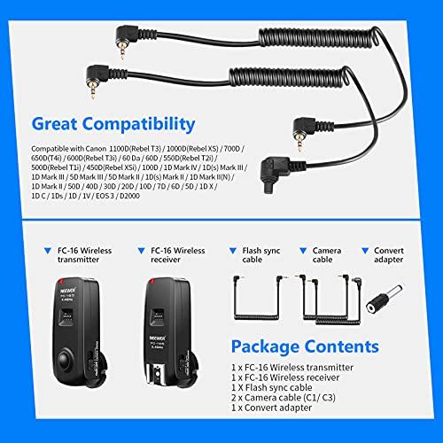 Neewer® FC-16 Mehrkanal 2.4GHz 3-IN-1 Funk Blitz / Studio Blitzauslöser mit Fernauslöser für Canon Rebel T3 XS T4i T3i T2i T1i Xsi EOS 1100D 1000D 700D 650D 600D 60D 550D 500D 450D 100D, EOS 1D Mark IV 1D Mark III 5D Mark III 5D Mark II 50D 40D 30D 20D 7D 5D 6D - 7