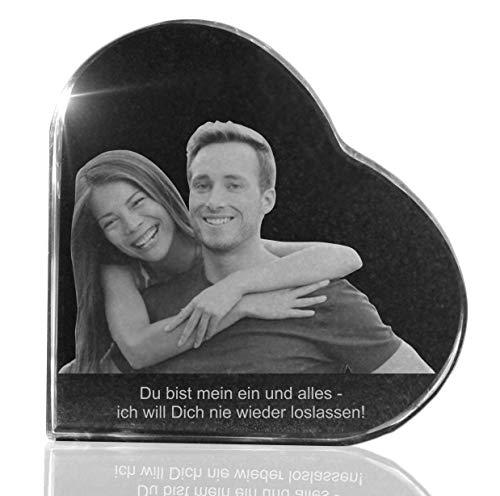 VIP-LASER Glasherz mit Deinem Wunschfoto und Wunschtext persönlich graviert Größe XXL (105x105x18mm)
