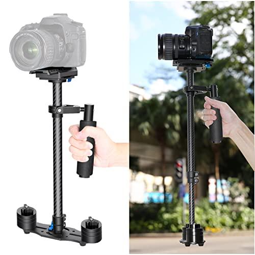 Neewer Kohlefaser 24 Zoll / 60 Zentimeter Handstabilisator mit 1/4 3/8 Zoll Schraube Schnelle Schuhplatte für Canon Nikon Sony und andere DSLR Kamera Video DV bis zu 3 Kilogramm (Schwarz) - 5