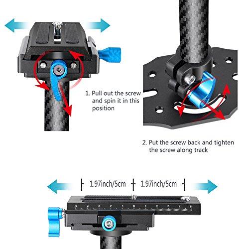 Neewer Kohlefaser 24 Zoll / 60 Zentimeter Handstabilisator mit 1/4 3/8 Zoll Schraube Schnelle Schuhplatte für Canon Nikon Sony und andere DSLR Kamera Video DV bis zu 3 Kilogramm (Schwarz) - 6