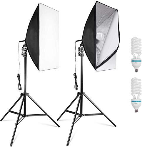 MVPower 60x60x60cm Fotostudio Set Fotozelt Lichtwürfel Ministudio mit 2 Stück 45W Studioleuchte und tragbarer Tasche - 4