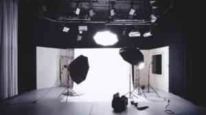 Fotostudio mit Blitzen und Softboxen